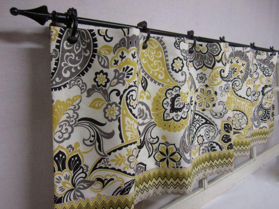 Elegant Kitchen Curtains. Window Valance. Window Curtains. Kitchen Valance. Grey,  Yellow,