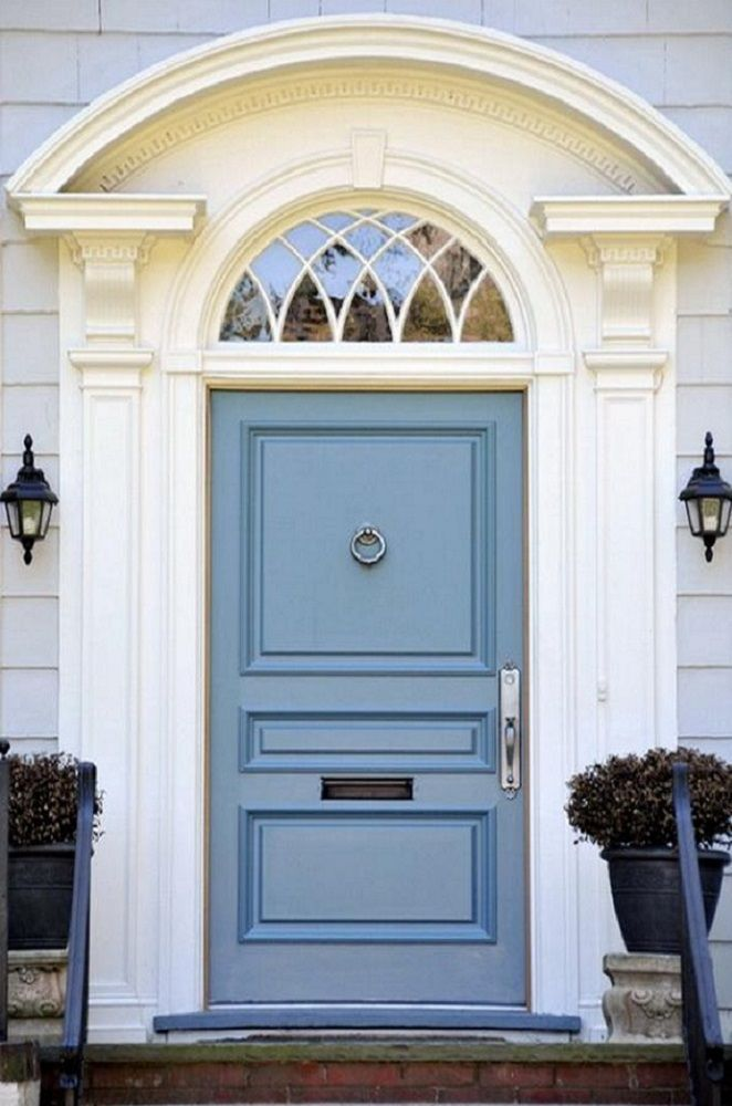 steel gray front door paint color schemes | Gray & Cream with Blue ...