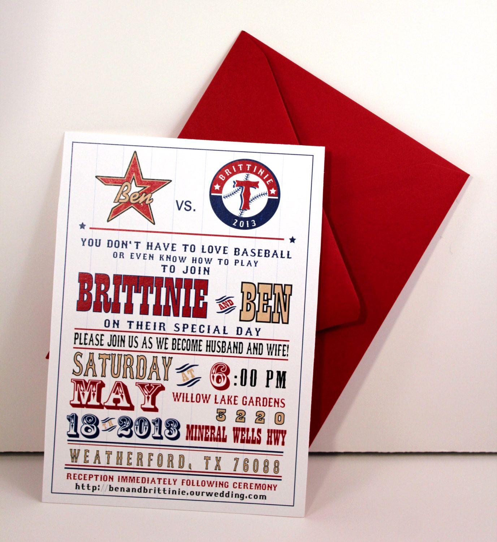 Bride vs. Groom Baseball Theme Wedding Invitation | wedding ...