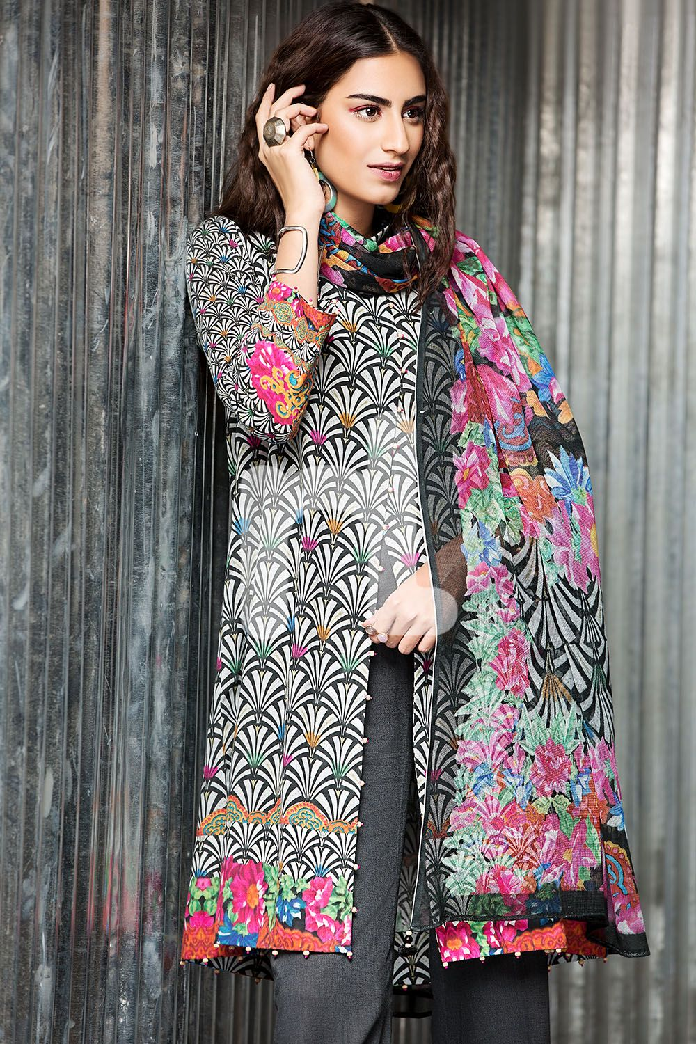 Buy Online Nishat Linen Unstitched 2 Piece Karandi Grey