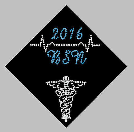 Nurse BSN LPN EKG Graduation Cap Custom Name By