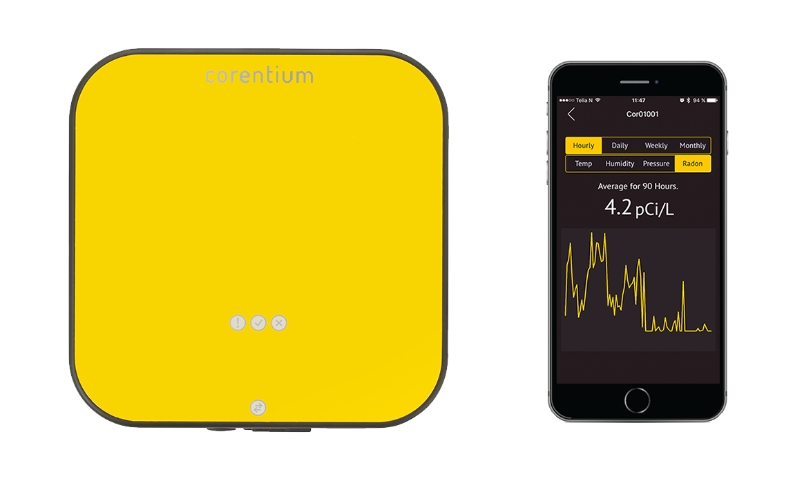Corentium Pro Radon Detector For Professional Radon Inspection Together With An App