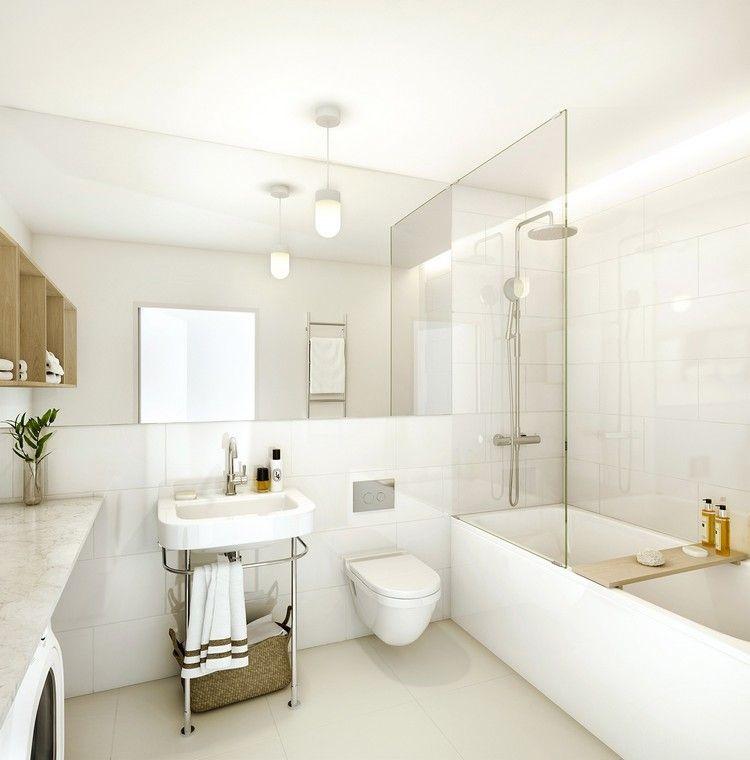 Lamparas de techo para cuartos de baño - 50 ideas   Baño blanco ...