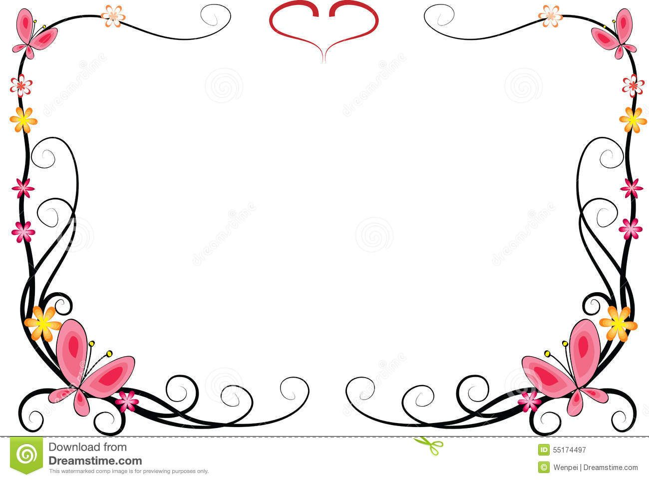 frame fleurs | Vector drawing flowers and butterfly with frame ...