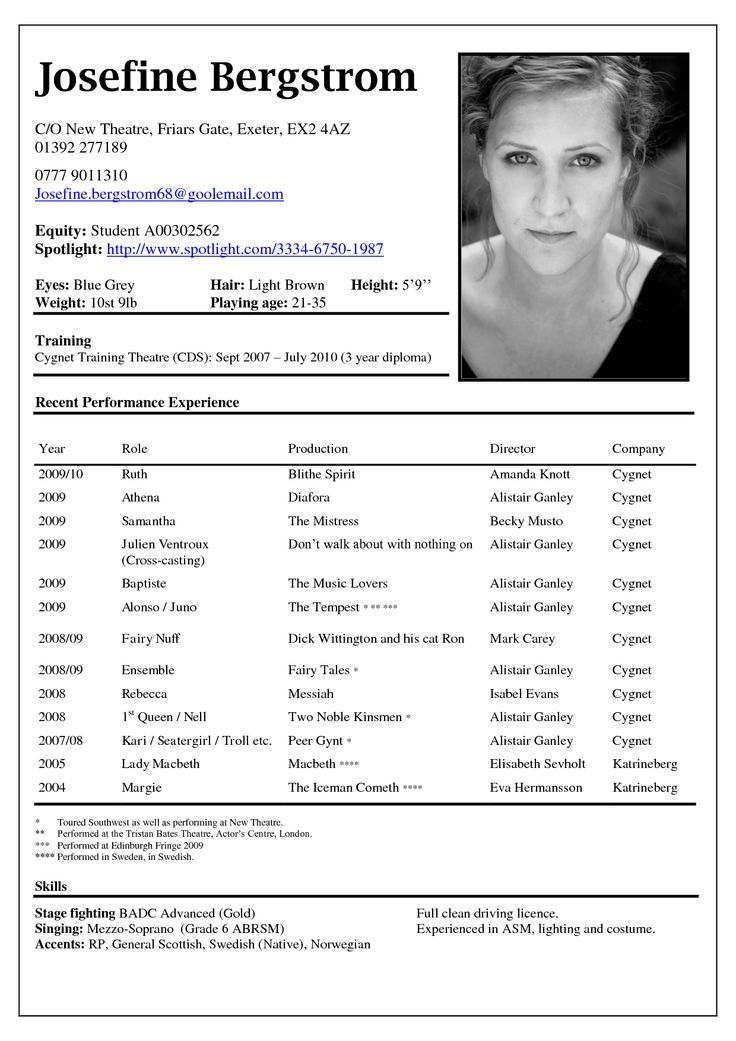 Pin by Siyanne Sampsons on My Dream Pinterest Sample resume - theatrical resume format