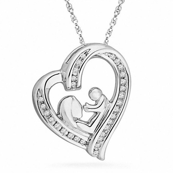 Zales 1/8 CT. T.w. Diamond Motherly Love Filigree Heart Pendant in Sterling Silver x473bUAMs