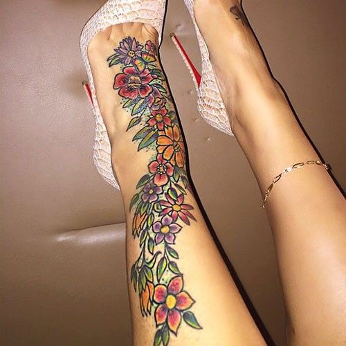 blac chyna tattoo ankle flowers tattoos pinterest