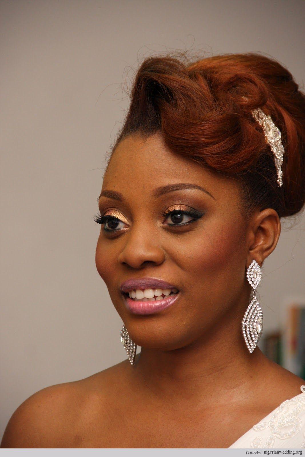 i love her haircolor. nigerian wedding: fabulous bridal hairstyles
