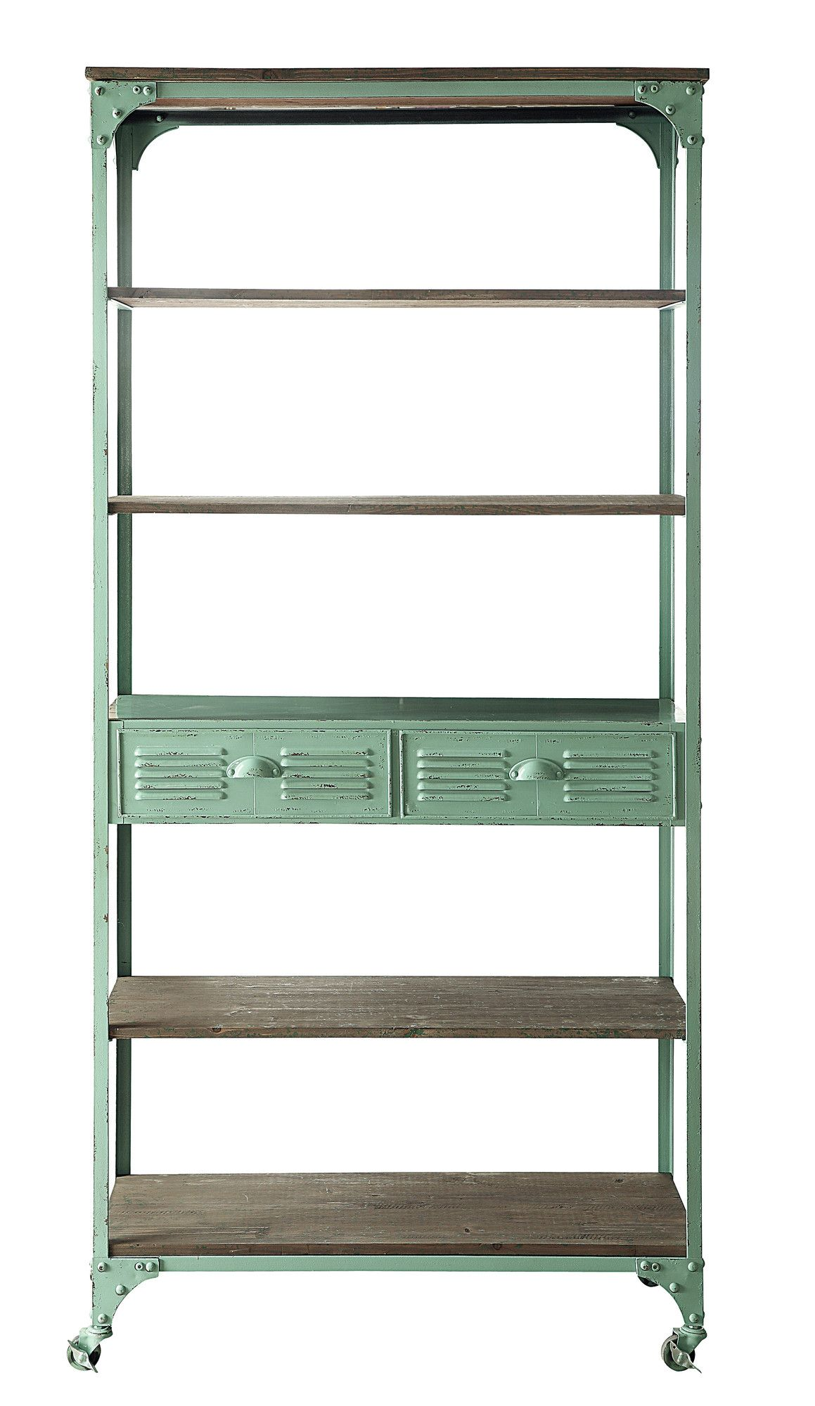 Adore This Cottage Green Painted And Distressed Shelving Unit Creative Co Op Metal And Wood Shelf 80 H X 36w X Rustic Bookshelf Metal Bookshelf Rolling Shelves
