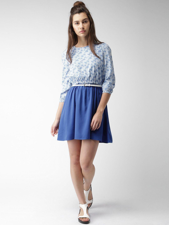 e06b14b3ad616 Mast & Harbour Women Blue & White Printed Fit & Flare Dress #blue #printed  #white