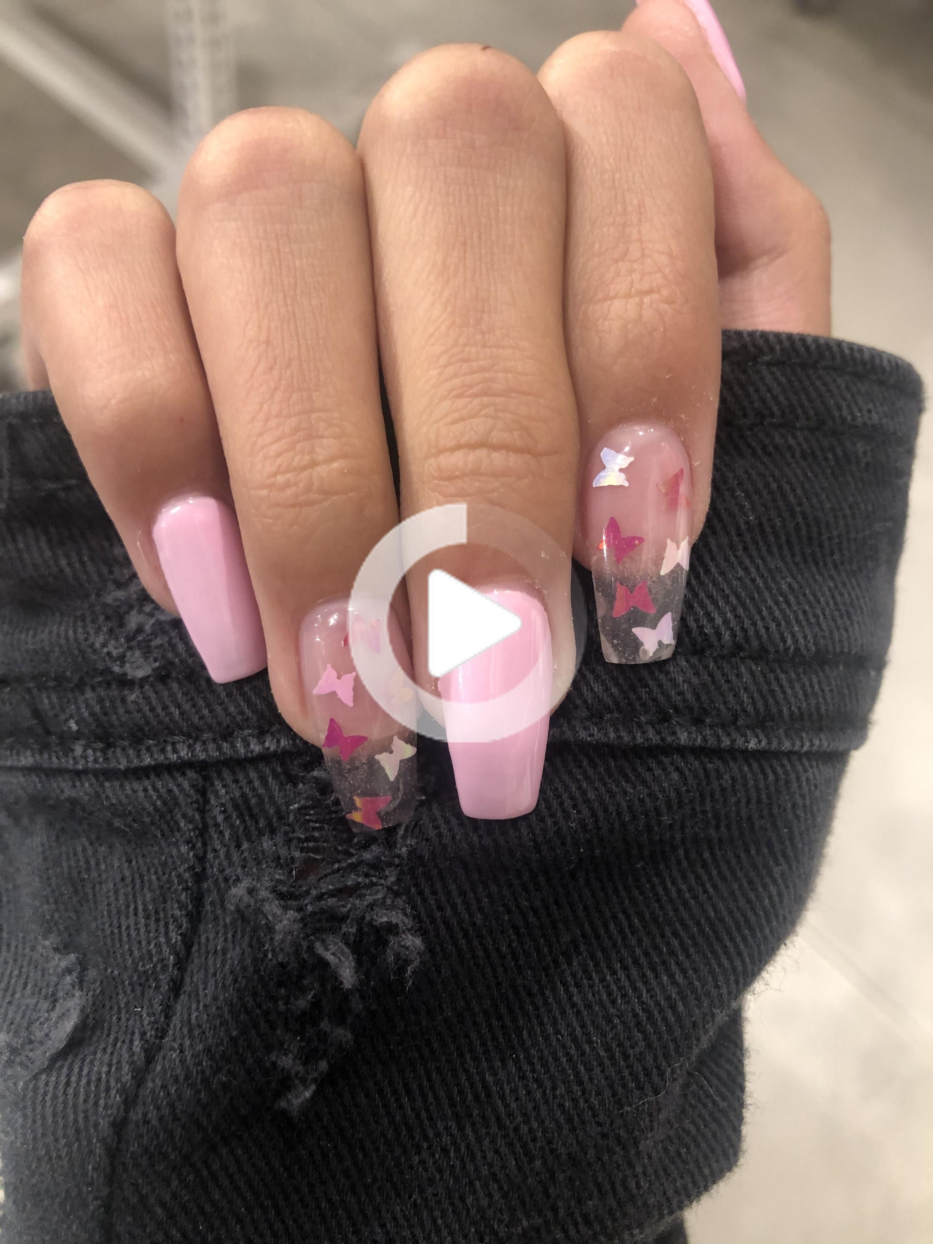 Baby Pink Butterfly Nails In 2020 Butterfly Nail Nails Pink Butterfly