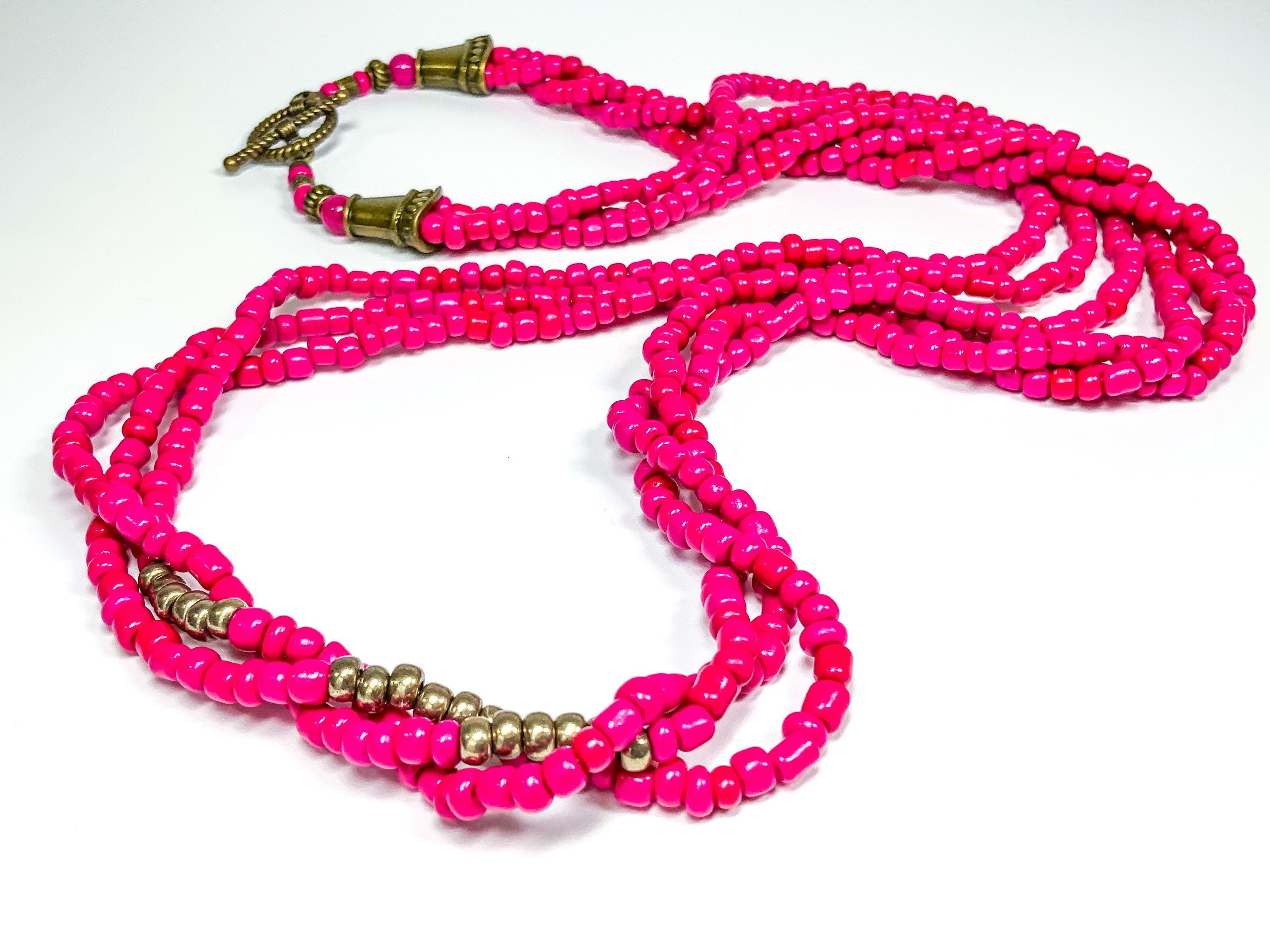 Jade and Crystal Beaded Necklace-Opera Length-Pink Jade and Iridescent Crystal Beads-Long Necklace