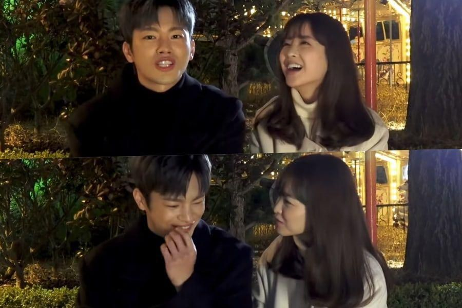 """Watch: Seo In Guk And Park Bo Young Play A Game To Test Their Chemistry Behind The Scenes Of """"Doom At Your Service"""""""