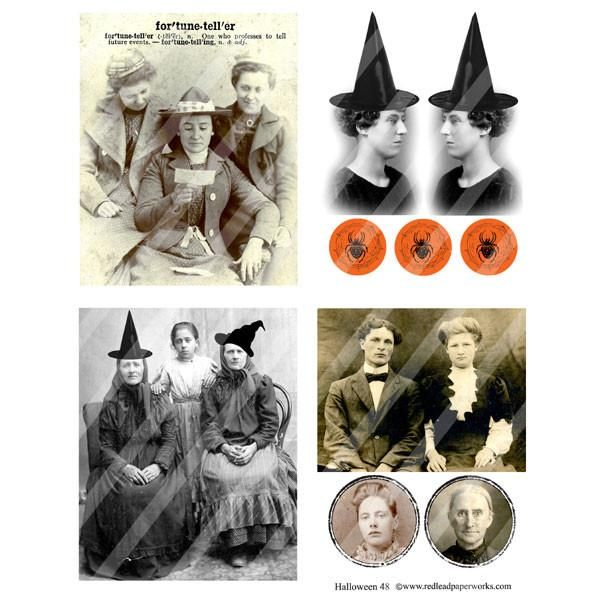 Free Halloween Collage Sheet with every order! Witches with hats, spiders…