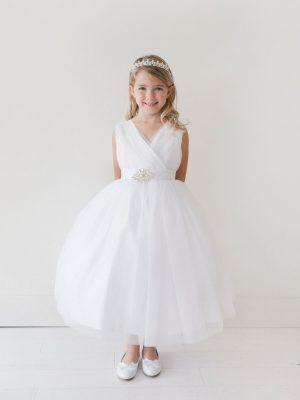 2f103009 Flower Girl Dress Glitter Tulle Rhinestone Brooch | Flower Girl ...