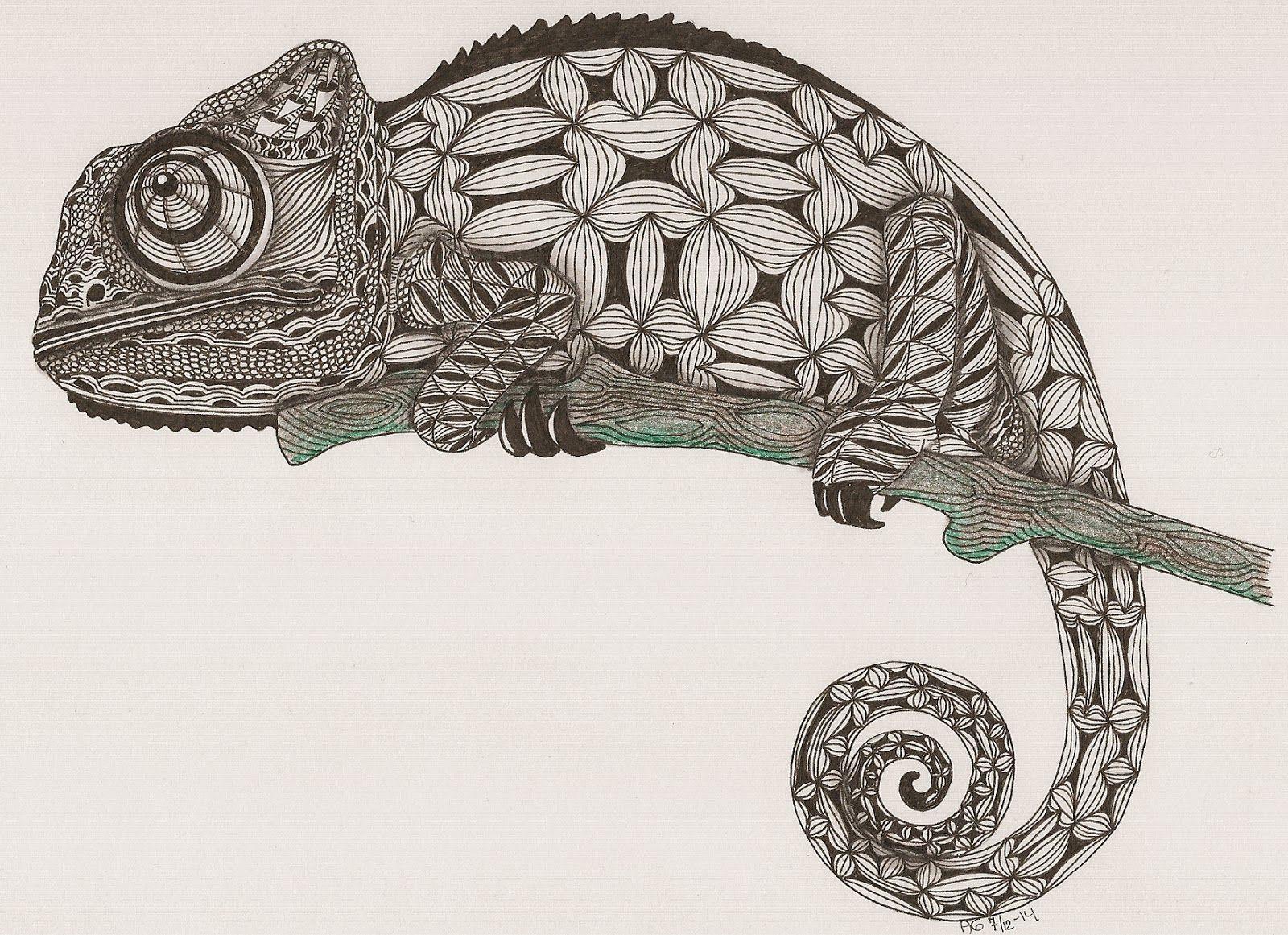 Adri Ornation Creation Chamaleon Tattoo Tinte Abbildungen Zeichnung