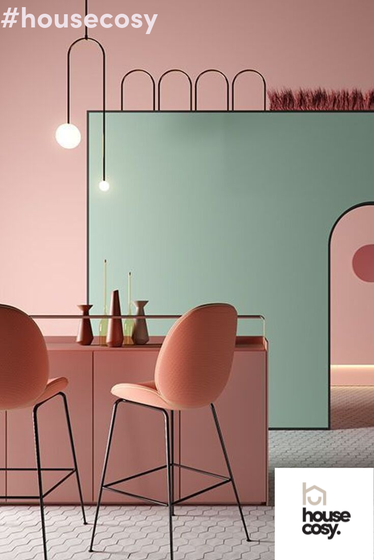 Something About The Modern Straight Lines The Pastel Coloured Bar Stools And The Bauhaus St Bauhaus Interior Colorful Bar Stools Contemporary Furniture Design