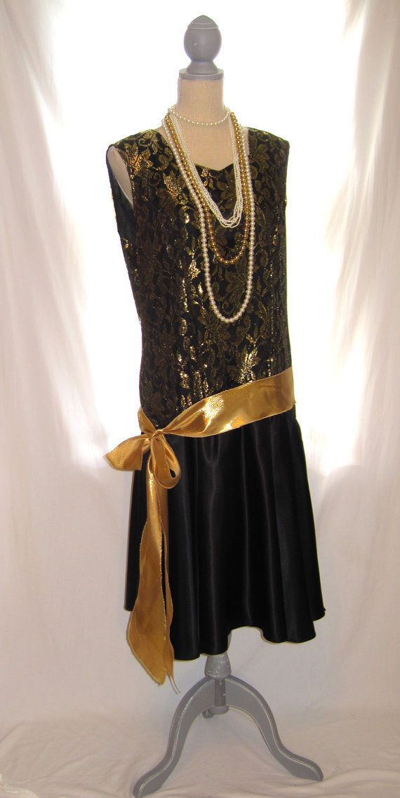 L to XL size gold black lace top Great Gatsby womens dress Gatsby ...