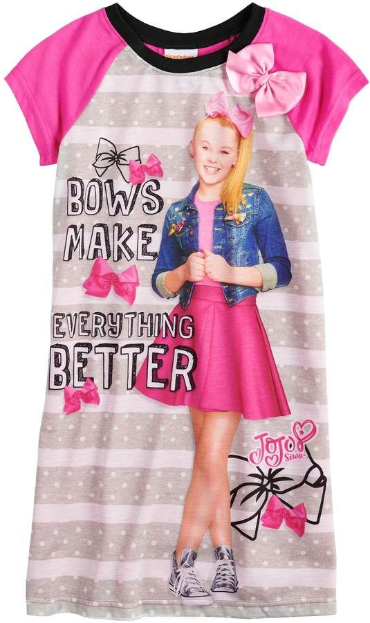 547619a9966 Jojo Siwa Girls 4-10 JoJo Siwa Bows Make Everything Better Knee-Length Dorm  Nightgown