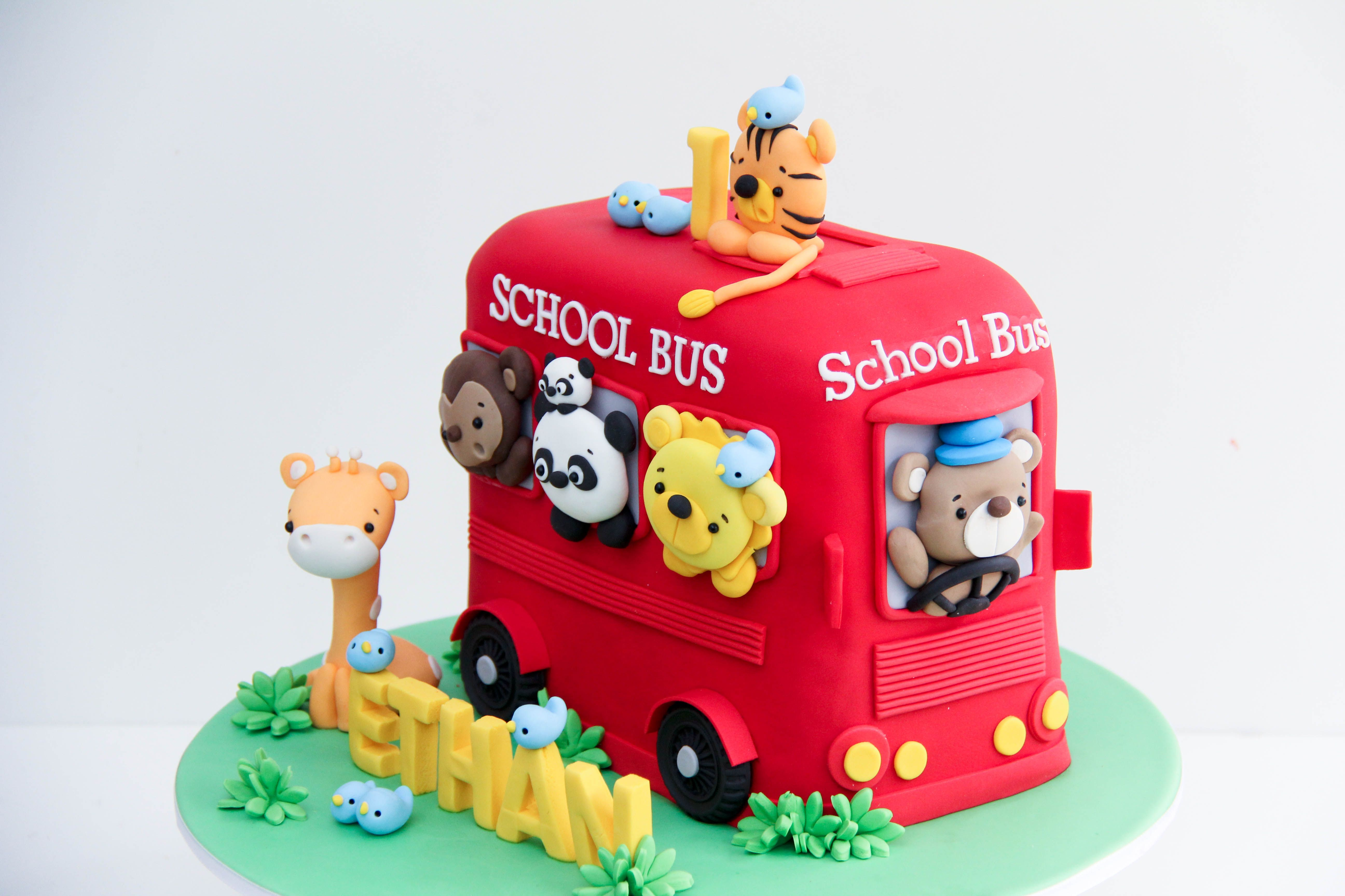 Animal School Bus Birthday Cake Bus Birthday Cakes Bus Birthday