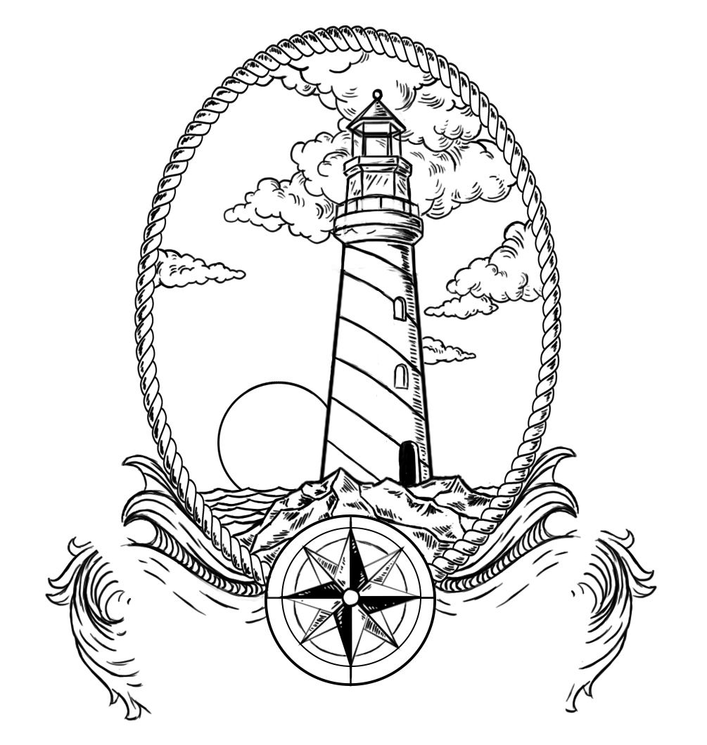 Lighthouse Pure Black Painting Ideas Traditional