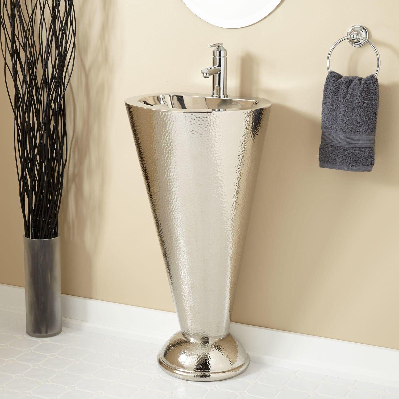 Column Nickel Plated Copper Pedestal Sink Bathroom Pedestal Sink Small Bathroom Sinks Pedestal Sinks