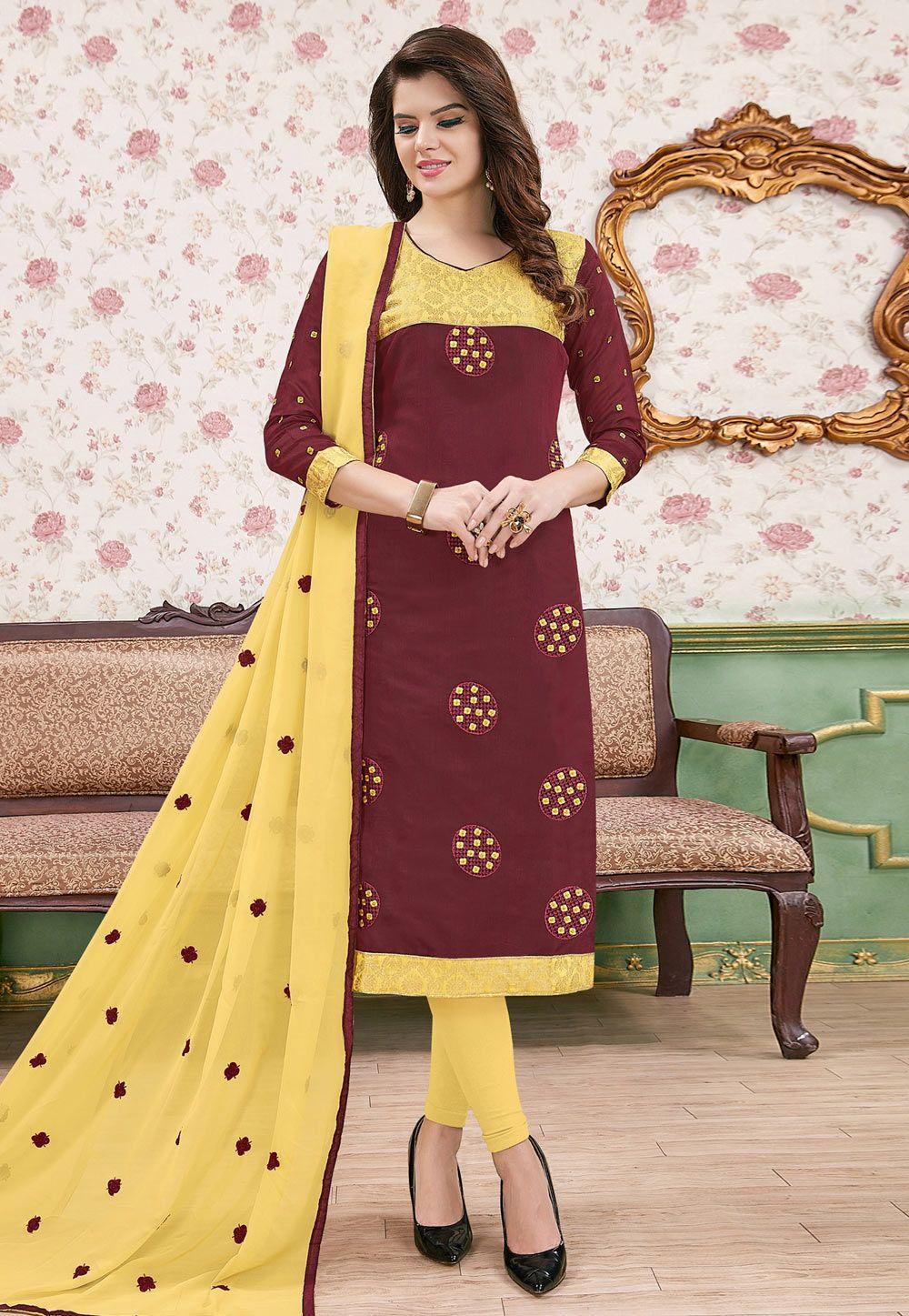 Wine Cotton Churidar Suit 154073 Churidar Churidar Suits Suits