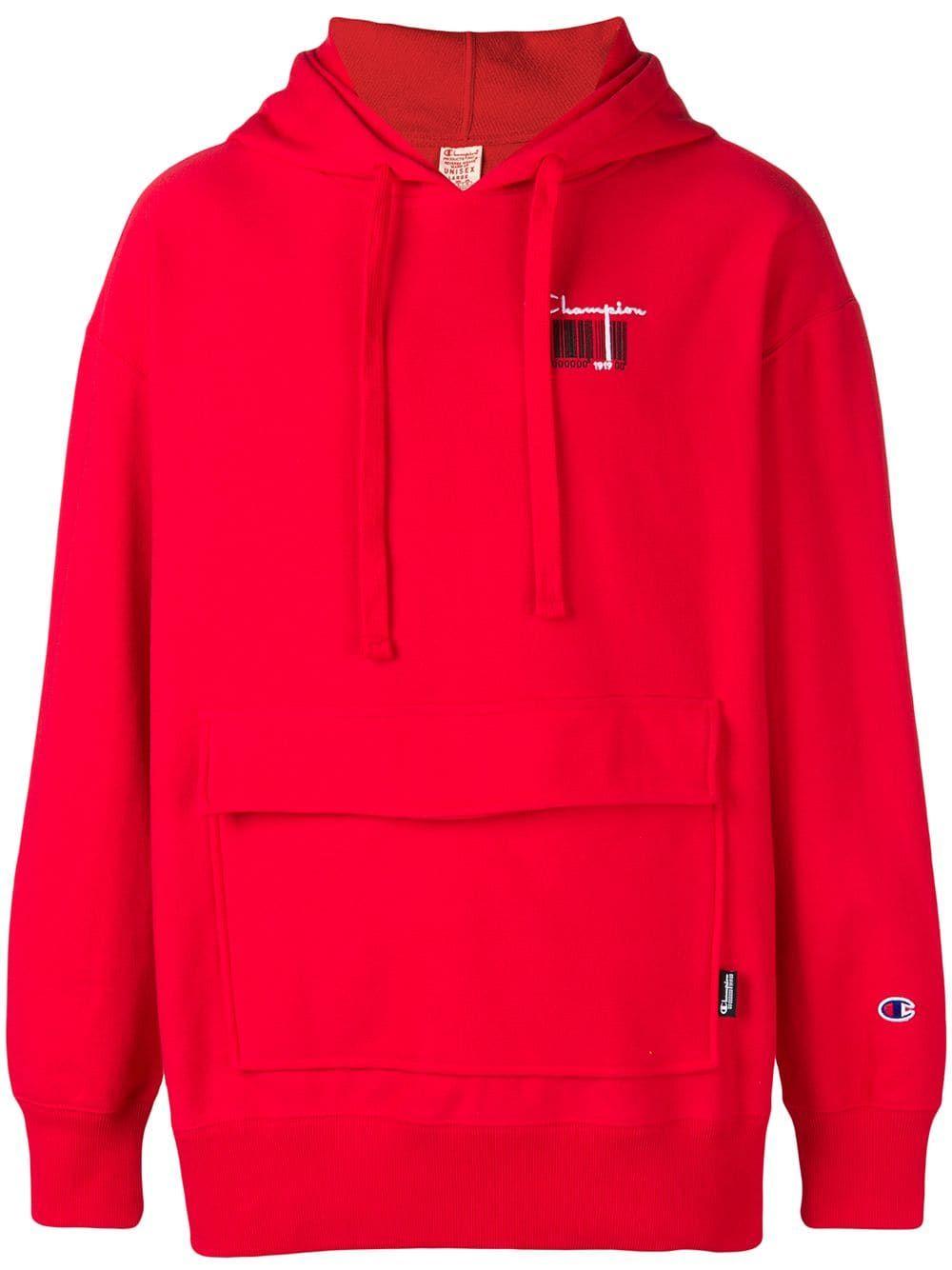 011a59c6994e CHAMPION CHAMPION CONTRAST LOGO HOODIE - RED.  champion  cloth ...