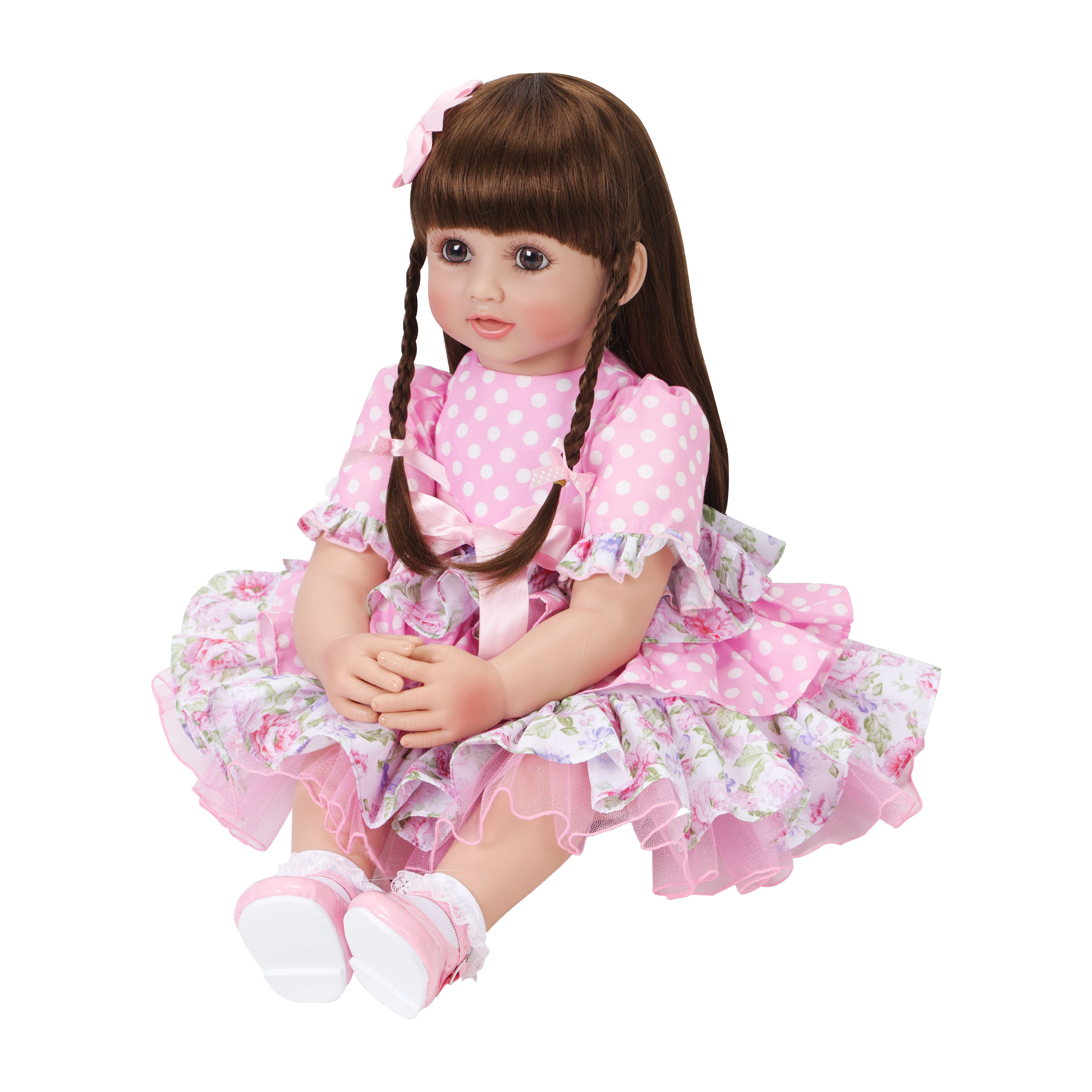 "24/"" Lifelike Silicone Vinyl Reborn Toddler Girl Princess Baby Doll Toy Long Hair"