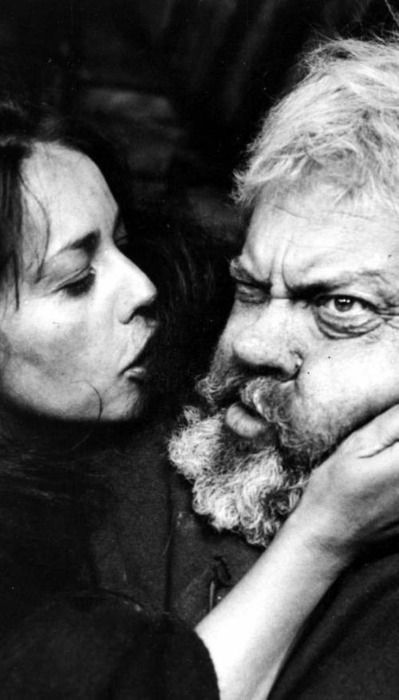Film Still: Orson Welles and Jeanne Moreau in 'Chimes at Midnight', 1965, directed by Orson Welles.