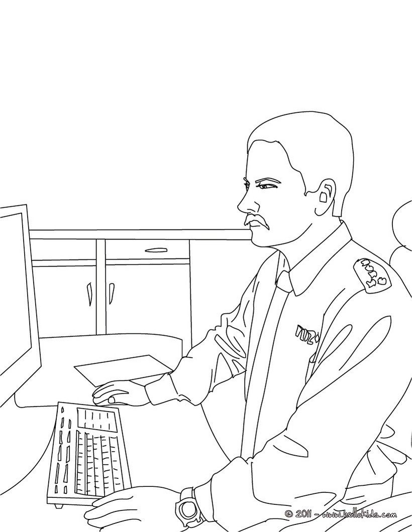 policeman at the police station coloring page amazing way for kids to discover job