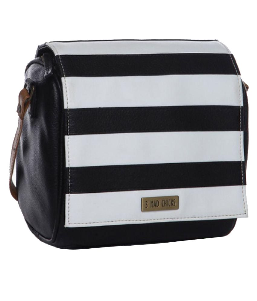 3 MAD CHICKS Black & White Striped Sling Bag | My Favourite Bags ...