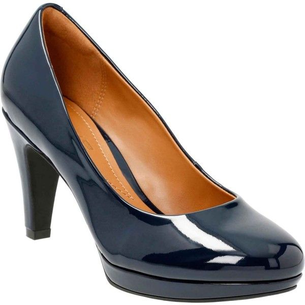 a0b2f1b25c8e Clarks Women s Brier Dolly Navy Synthetic Pumps ( 95) ❤ liked on Polyvore  featuring shoes