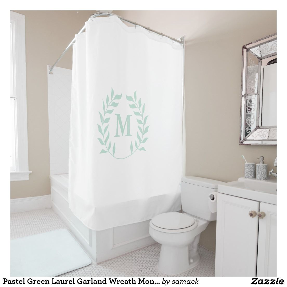 Pastel Green Laurel Garland Wreath Monogram Shower Curtain ...