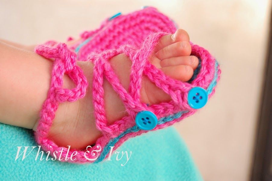 701f1f775 Free Crochet Pattern - Baby Button Gladiator Sandals  Pattern by Whistle  and Ivy