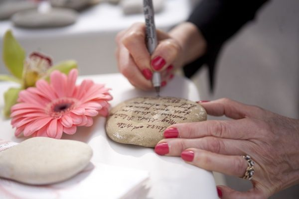 Personalized stone guestbook idea - great for housewarming party!