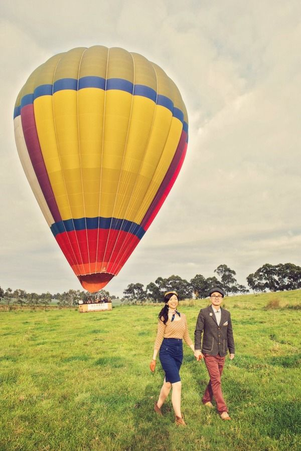 Amazing hot air balloon #engagement photo...the vintage theme is wonderful! From http://stylemepretty.com/australia-weddings/2012/09/03/hot-air-balloon-engagement-session-from-finessence-photography/  Photo Credit: http://finessence.com.au/