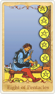 The 8 of Pentacles Tarot Card based on Rider-Waite | Tarot Card of