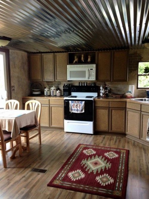 Mobile home renovation professional artist creates rustic masterpiece westerns country and Mobile home kitchen remodel pictures