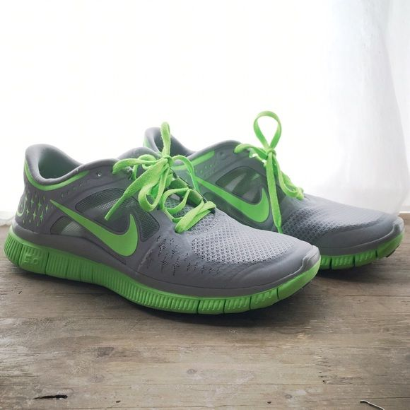 Nike Free Run 3 EXCELLENT CONDITION Grey and lime green Nike Free Run 3 in excellent condition! Worn about 3 times by owner. Nike Shoes Athletic Shoes
