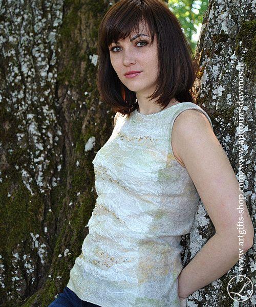 Hand nuno felted merino wool  silk top, blouse -Gentle calmness