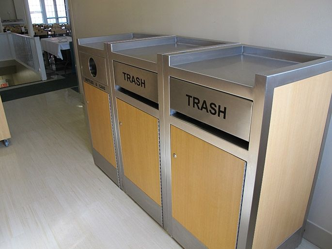 Merveilleux Lenox Tray Manager Triple Recycling Station   Stylish Recycling For  Restaurants U0026 Corporate Cafeterias Trash And