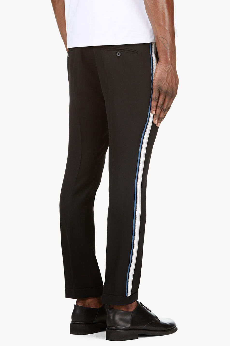 Balmain Black Slim Side Stripe Fit Trousers Mens Outfits