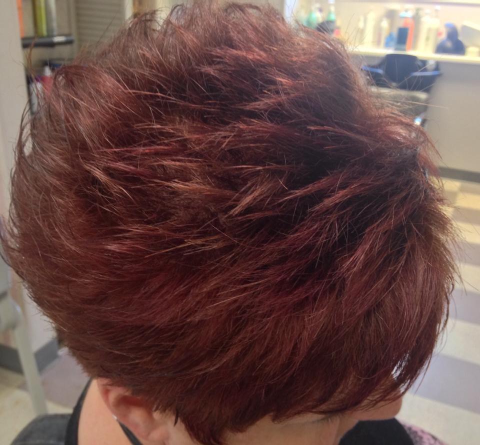"My new ""Autumn"" color--Deep Auburn with Plum highlights by Kay's Classic Hair Design.  Love it!"