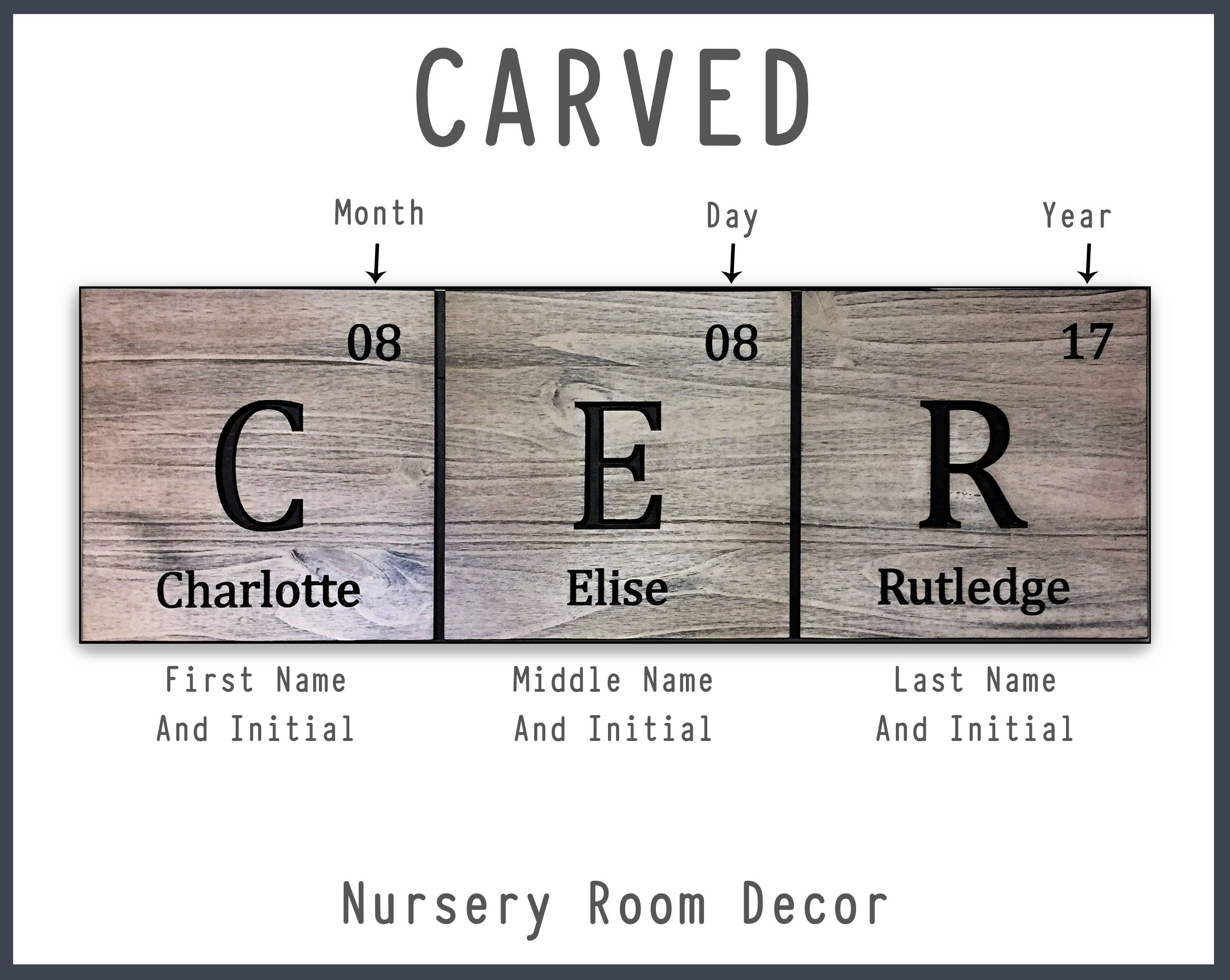 Nursery room decor childrens name sign new gift for baby kids nursery room decor childrens name sign new gift for baby kids room decor rustic vintage carved periodic table elements gift idea urtaz Image collections