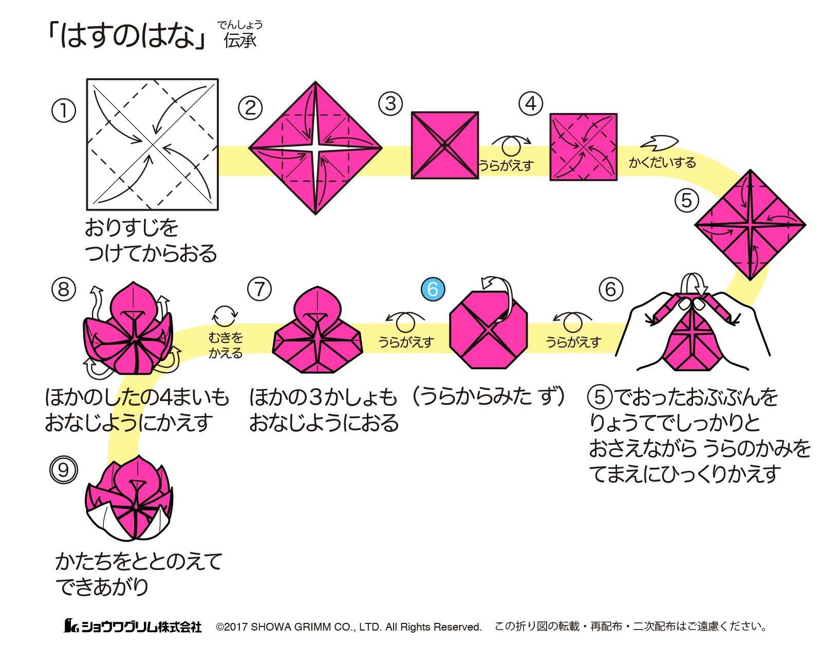 はすのはな 蓮の花 折り紙の折り方 折り図 ショウワグリム株式会社 折り紙 折り紙 折り方 蓮の花