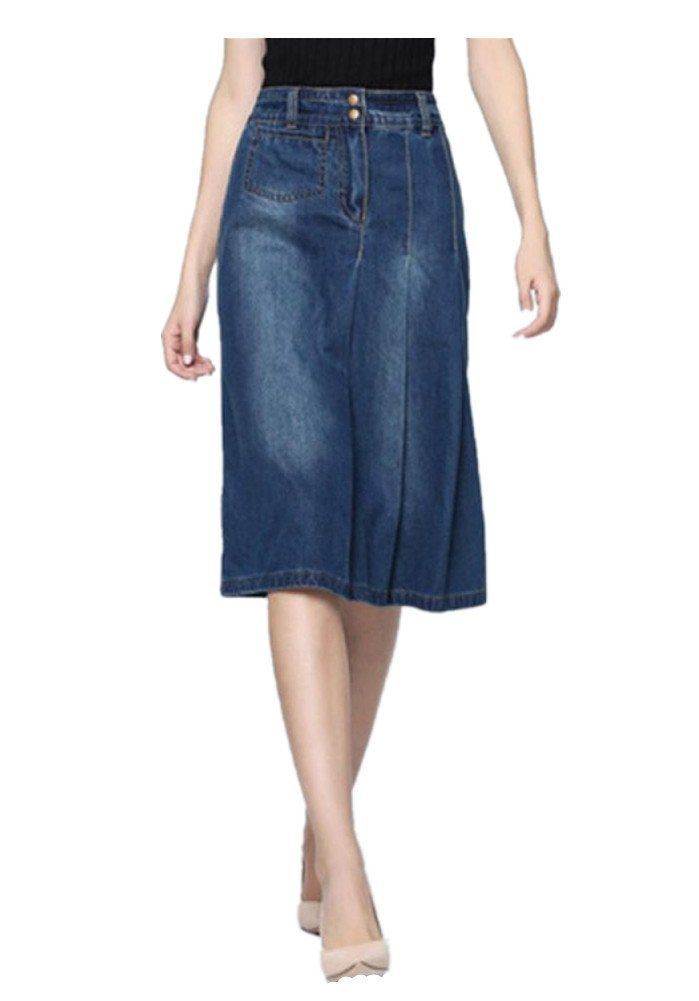 Skirt BL Women's Vintage Casual Plus Size Blue Long A Line Midi Denim Jean Skirt at Amazon Women's Clothing store: