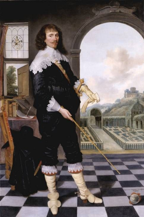 'Portrait of William Style of Langley' 1636  He turns back on worldly possessions, (coat-of-arms in window reinforced w/ Latin motto 'vix ea nostra voco' ('I scarcely call these things my own'). Turns away from his books & writing, outer garments & worldly music (violin) Behind the classical archway represents entrance to the garden of the Church (metaphor common in Catholic lit). The garden is protected w green hedge from mountainous wilderness beyond & antique ruin (symbolizing pagan…