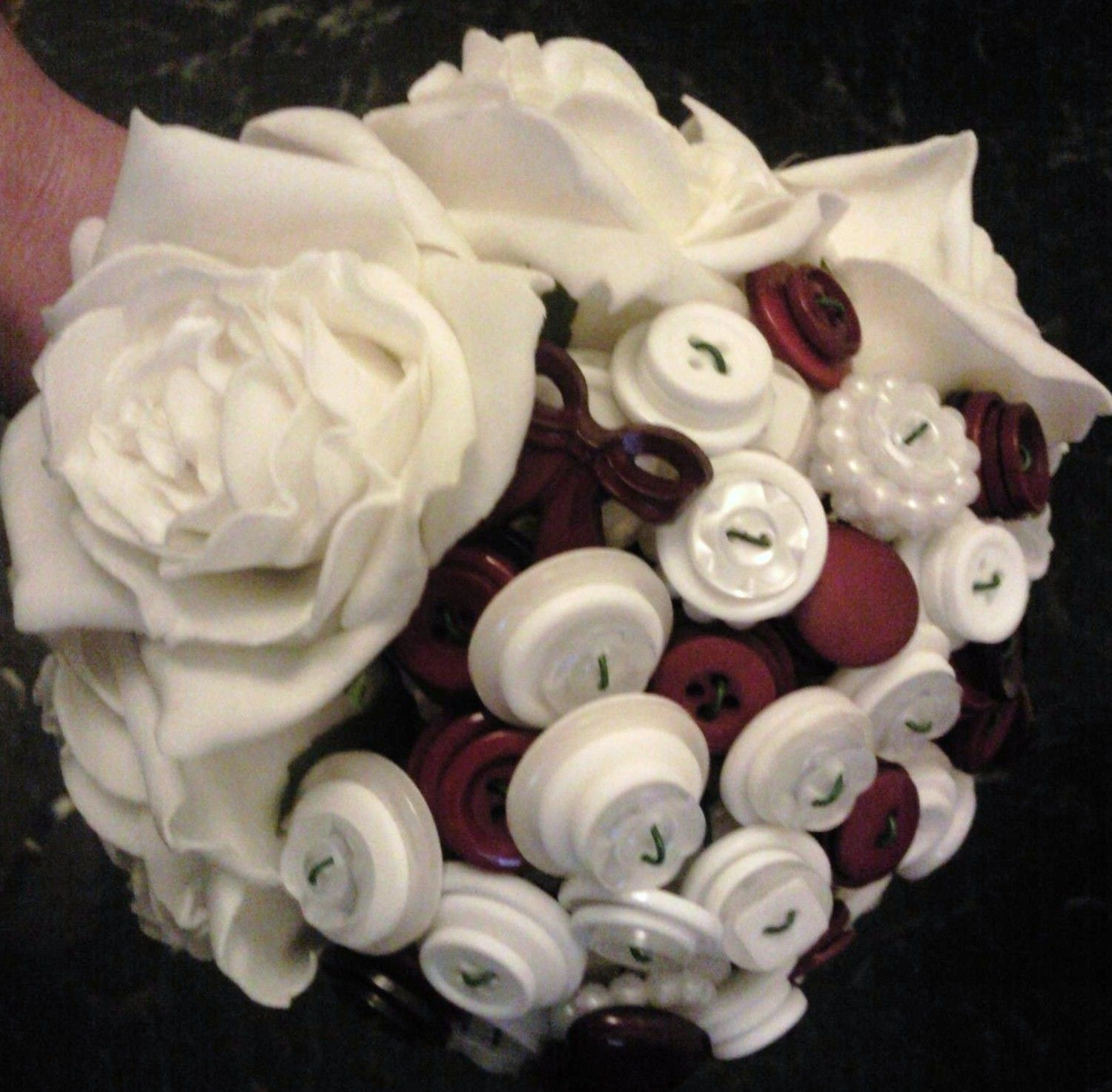 deep red and ivory - button bouquet - medium   £85