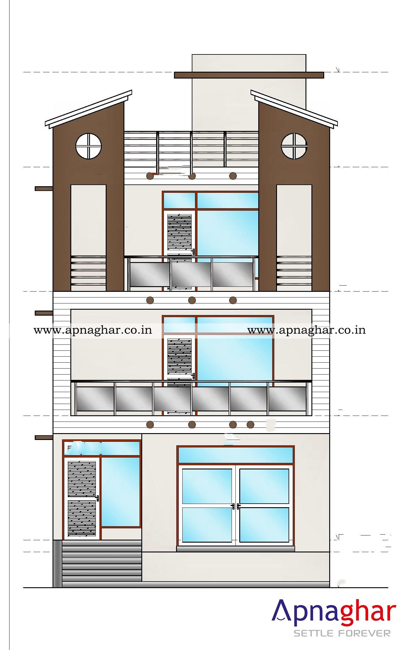 Building Front Elevation Drawings : D elevation drawings for your home visit apnaghar